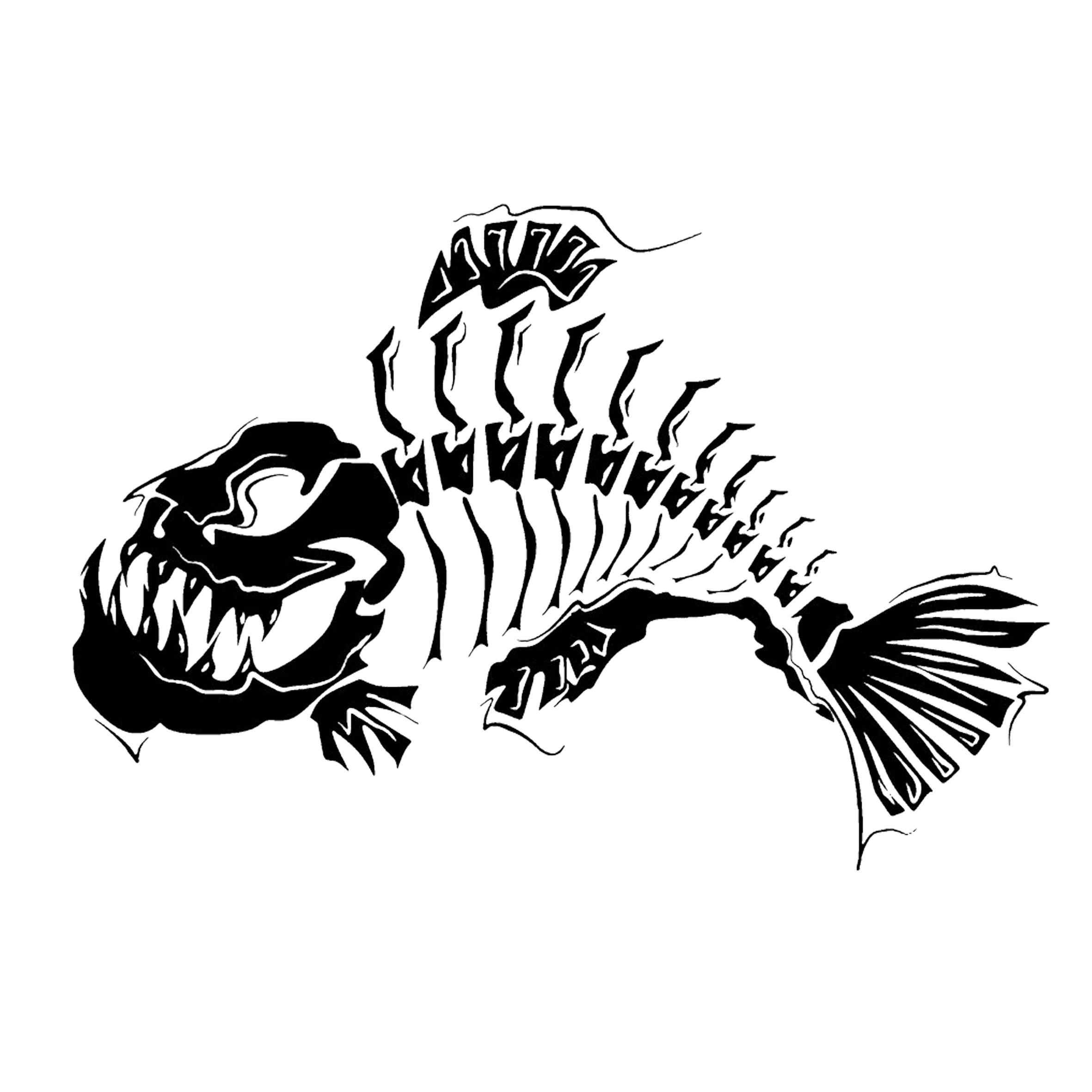 Tattoo fish bone clip. Clipart skeleton line art