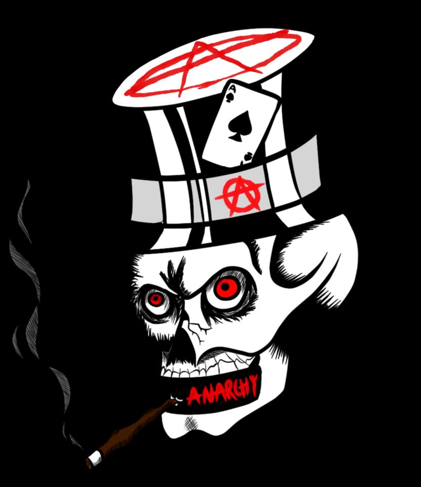 Ararchy skull tattoo design. Clipart skeleton smoking