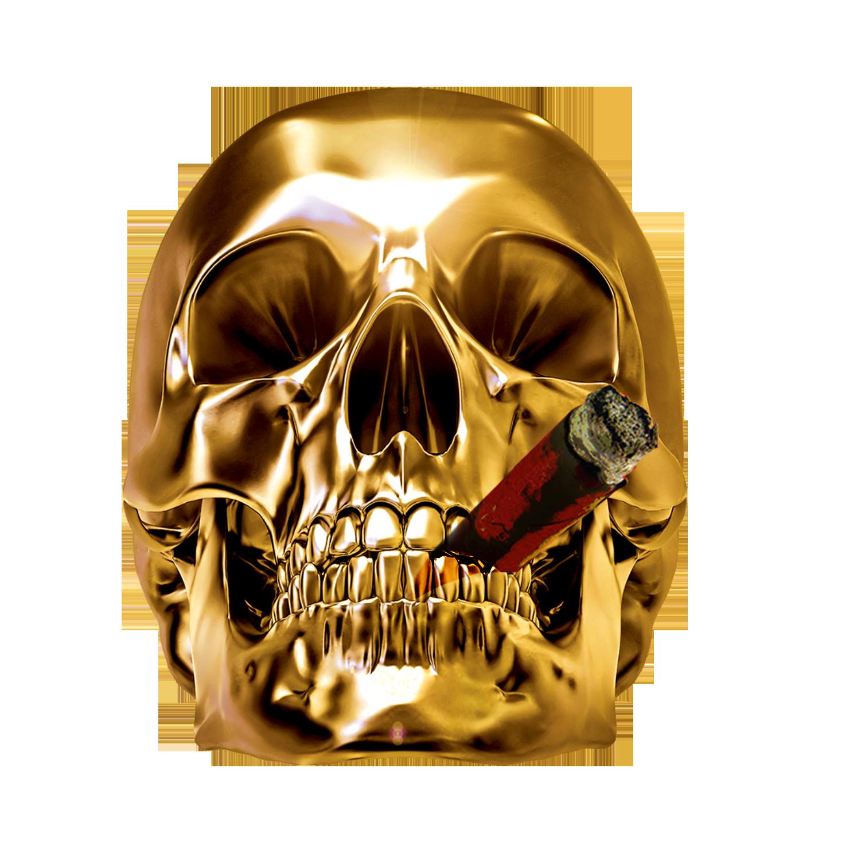 Clipart skeleton smoking. Skull clip art golden