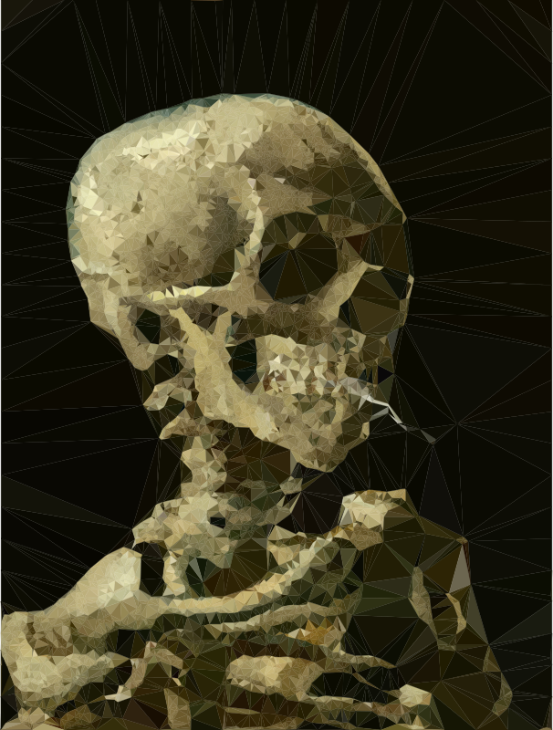 Low poly with burning. Clipart skeleton smoking