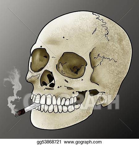 Clipart skeleton smoking. Stock illustration skull drawing