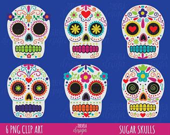 Clipart skull. Etsy sale halloween day