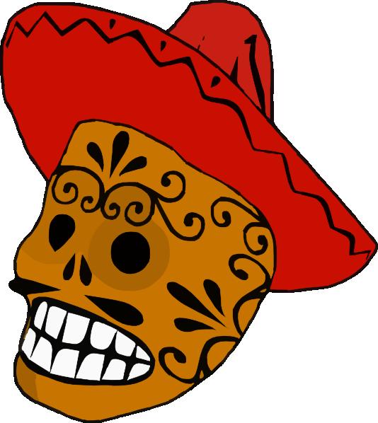 Skeleton clipart art mexican. Skull clip at clker