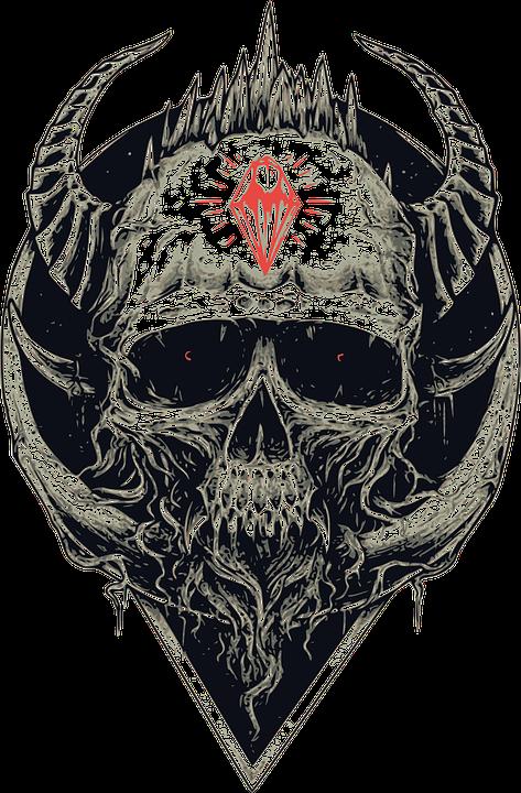 Dark art skulls pinterest. Clipart skull demonic