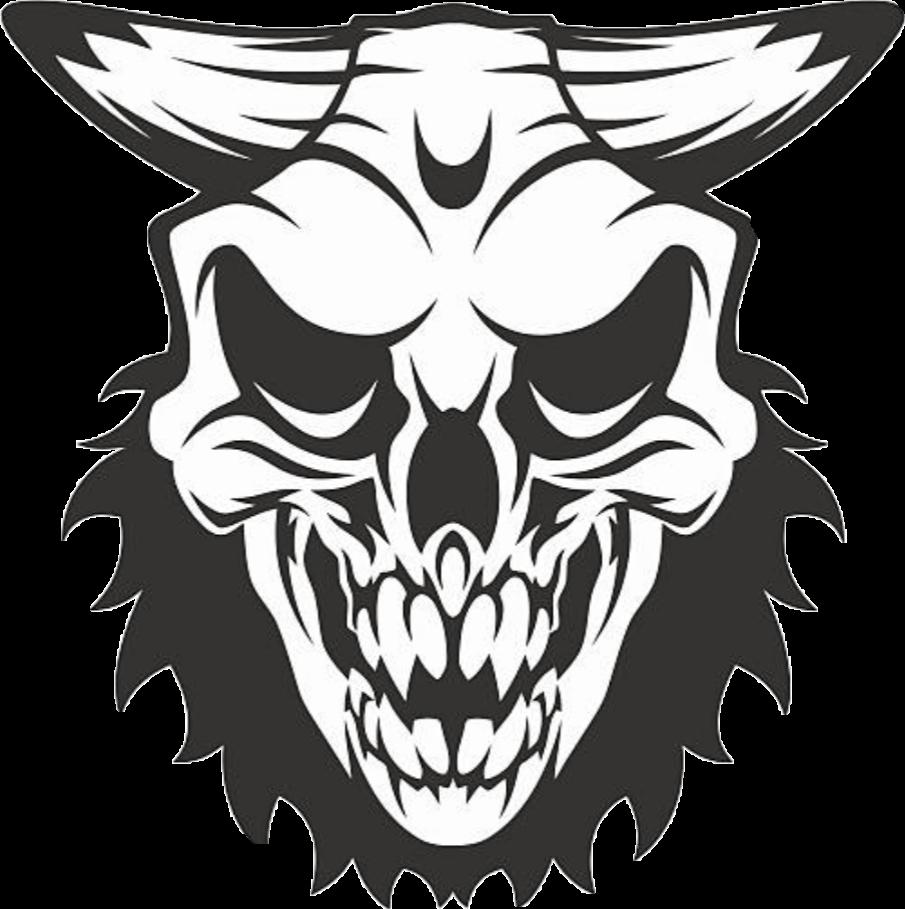 Demon satanic sticker by. Clipart skull demonic