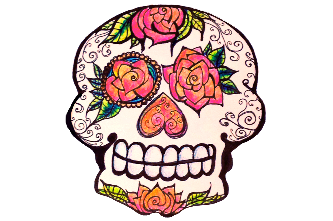 Day of the dead. Clipart skull drawn