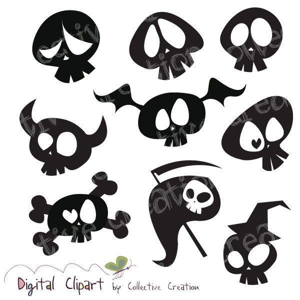 Clipart skull feminine. Cute cartoon silhouette digital