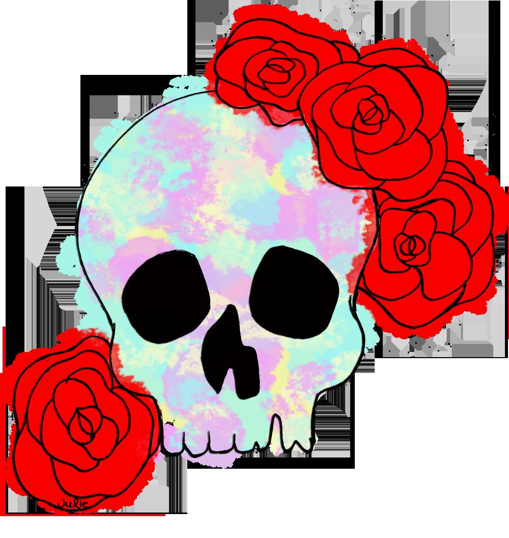 Clipart skull feminine. Watercolour with roses flowers