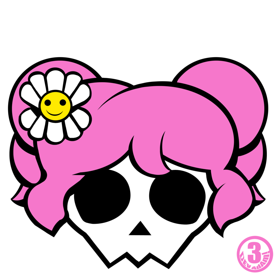 Clipart skull feminine. Girly by chooy on