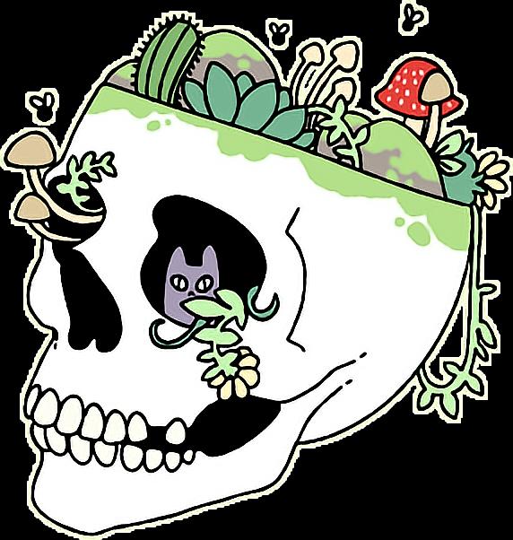 Clipart skull grunge. Aesthetic tumblr plants trippy