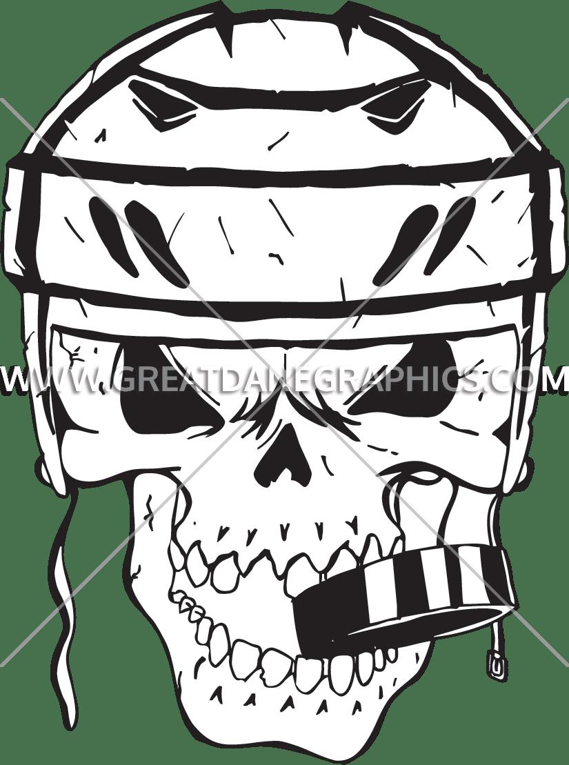 Hockey clipart skull. Production ready artwork for