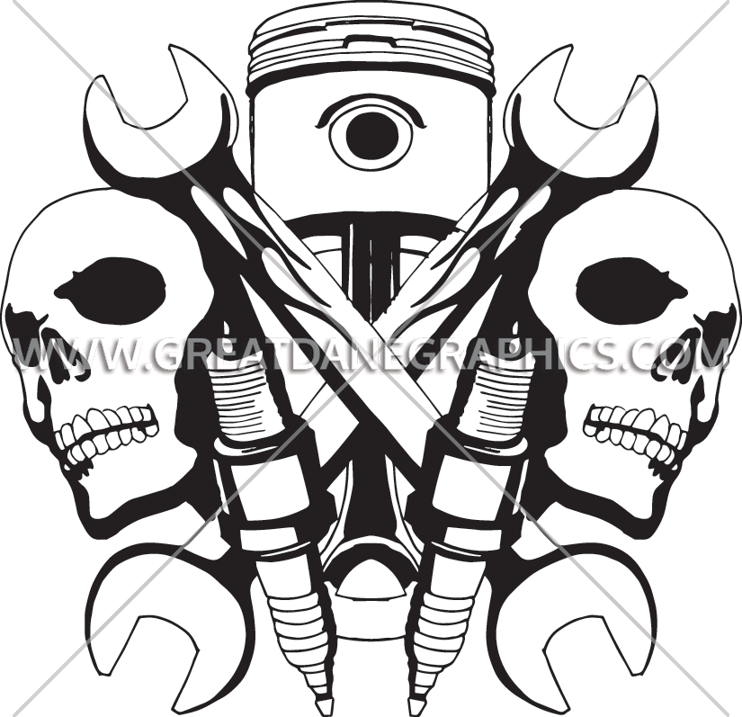 Mechanic clipart black and white. Skulls production ready artwork