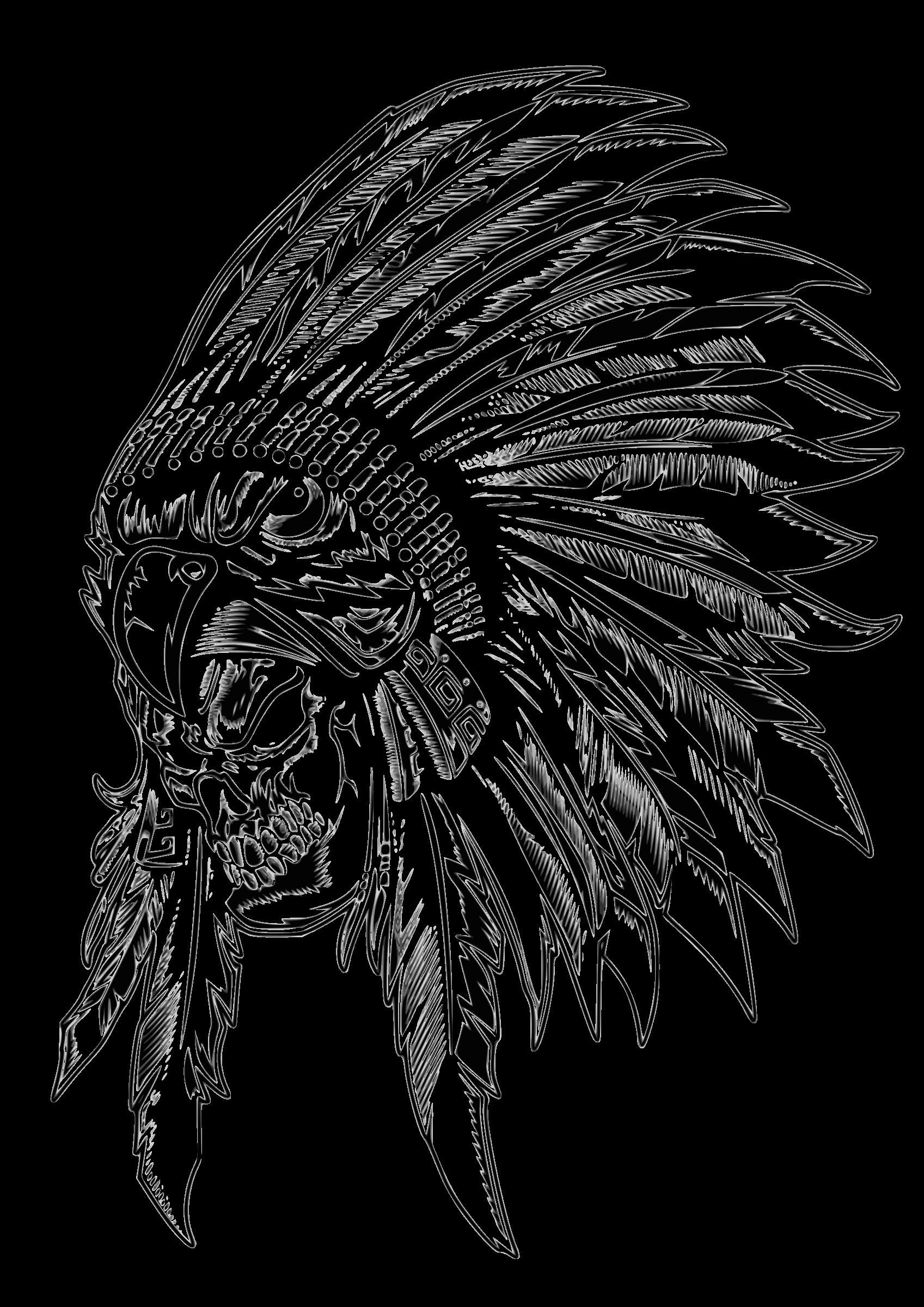 Wing clipart skull. Indian aborigen big image