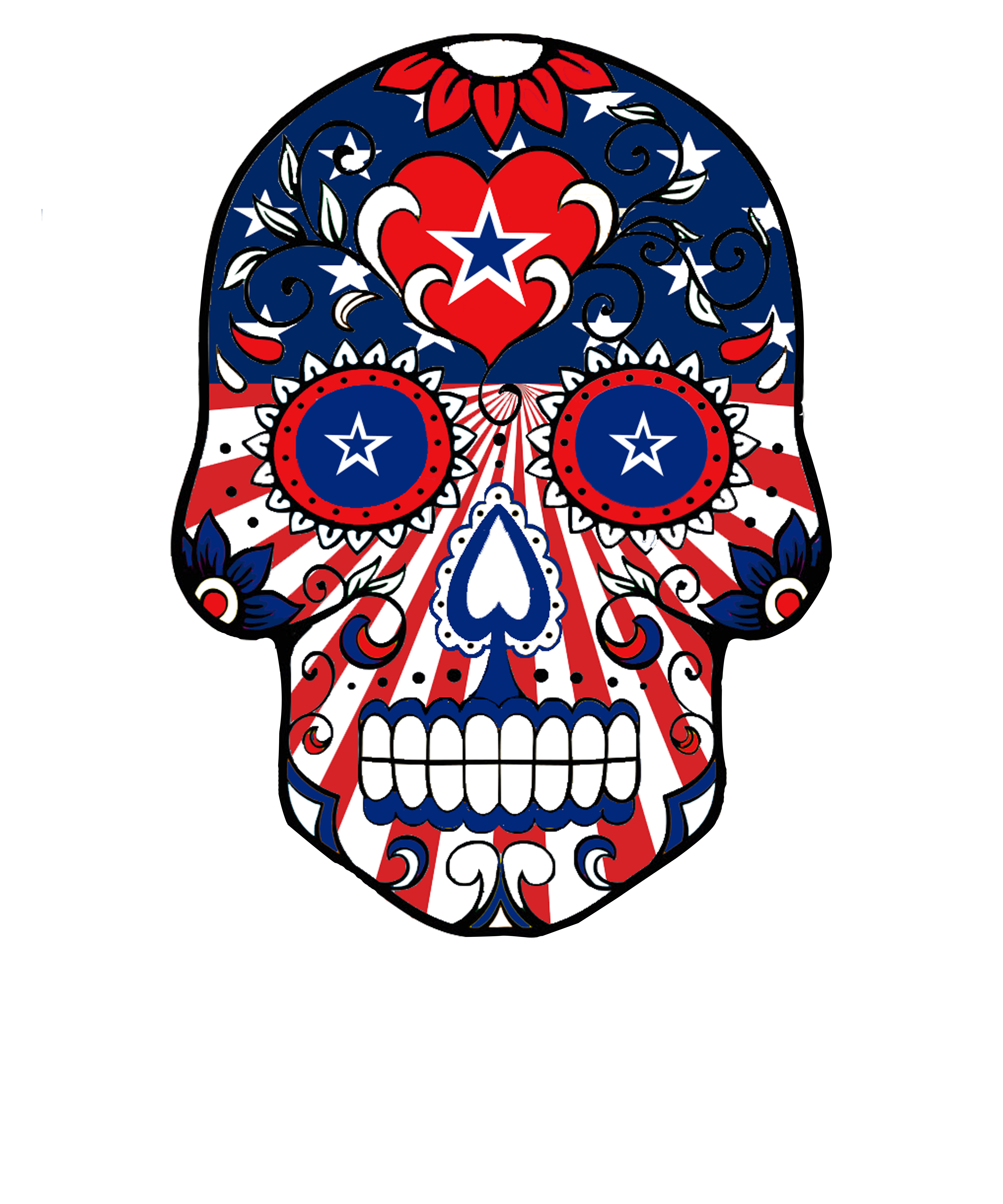 And the usa flag. Longhorn clipart sugar skull