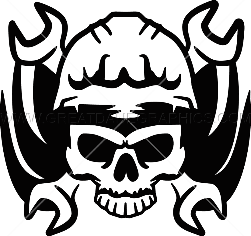 Wrench production ready artwork. Clipart skull welder
