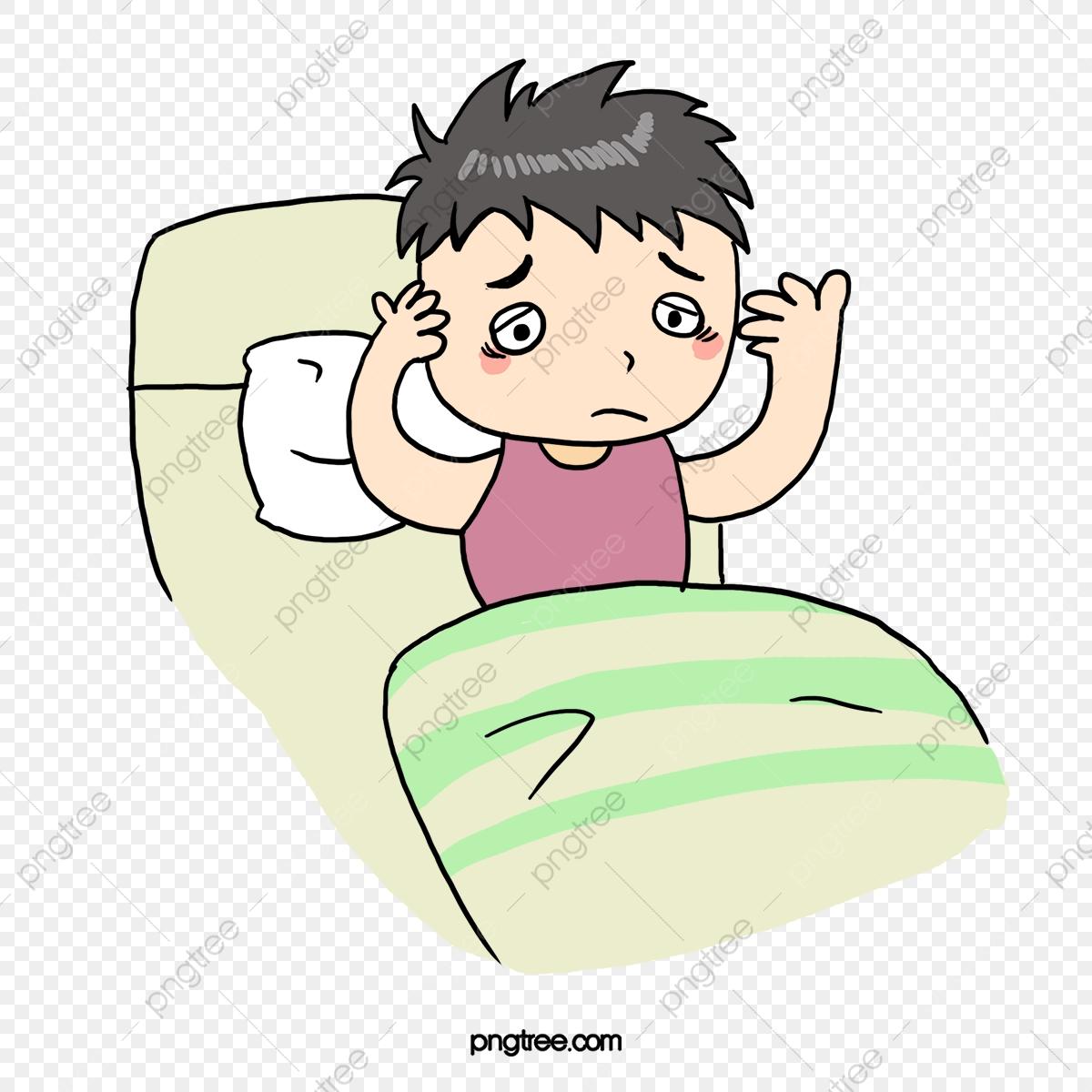 Cartoon lack of sleep. Clipart sleeping action