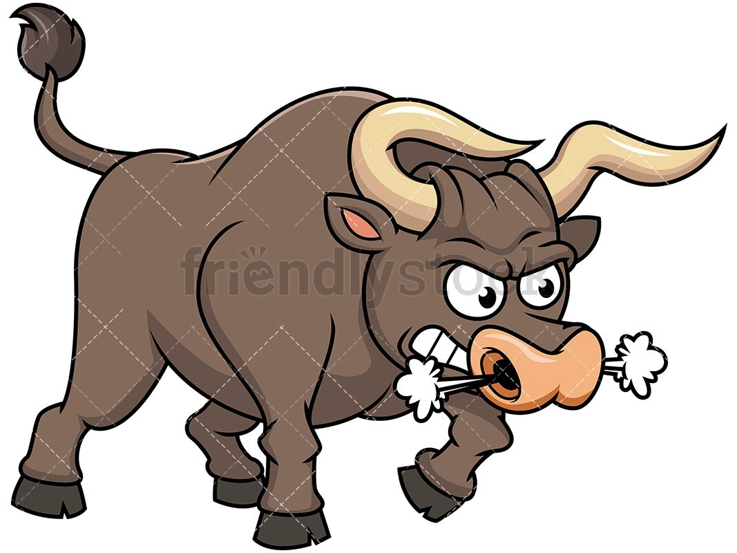 Thrashing blowing smoke through. Ox clipart mad bull