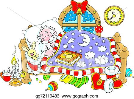 Santa clipart sleeping. Vector claus illustration