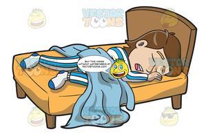 A man enjoying good. Clipart sleeping comfy bed