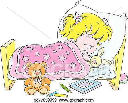 Clipart sleeping little girl bed. Vector art eps gg