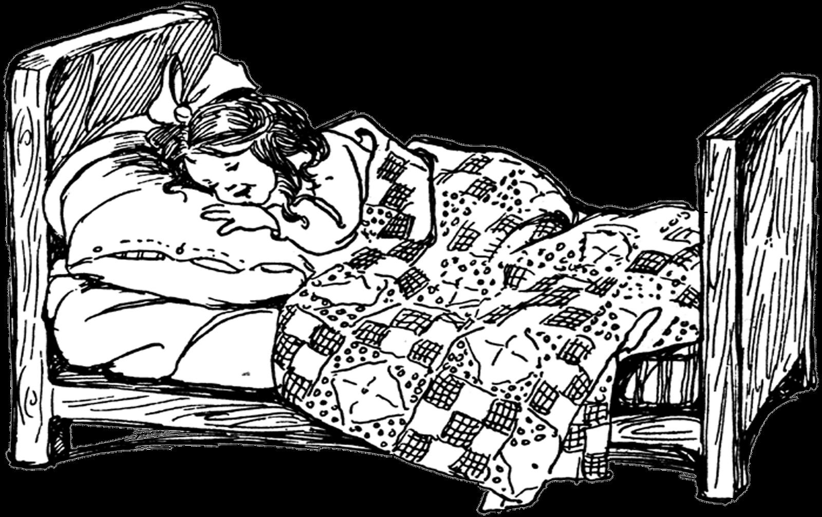 Clipart sleeping little girl bed. Free vintage digital stamps