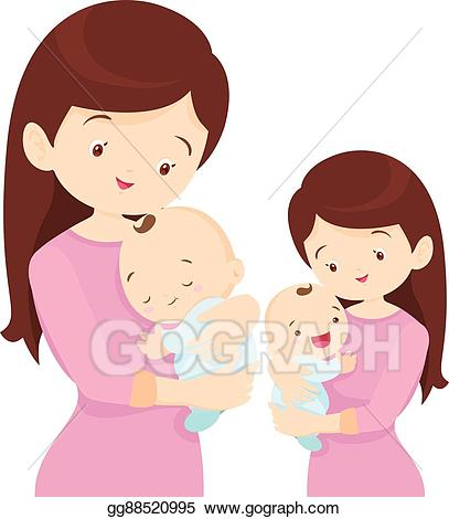 Young clipart mom baby. Vector art mother is