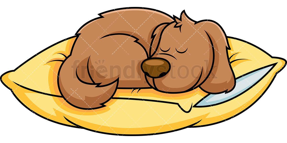 Nap clipart cartoon. Dog sleeping on pillow