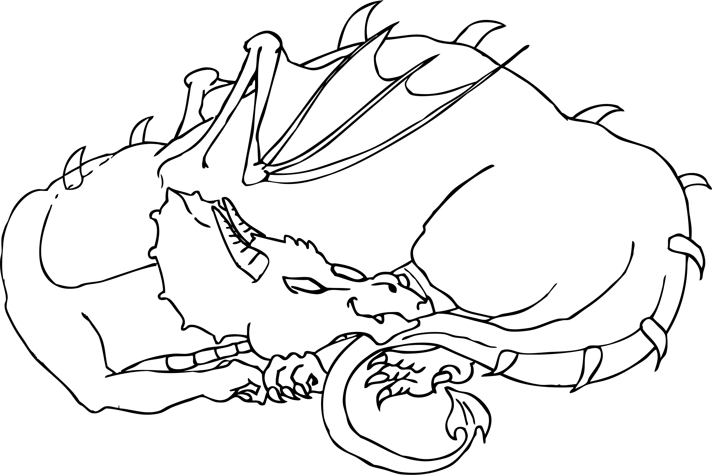 collection of dragon. Clipart sleeping outline