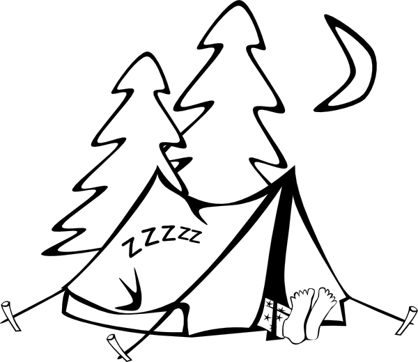 In a tent clip. Clipart sleeping outline