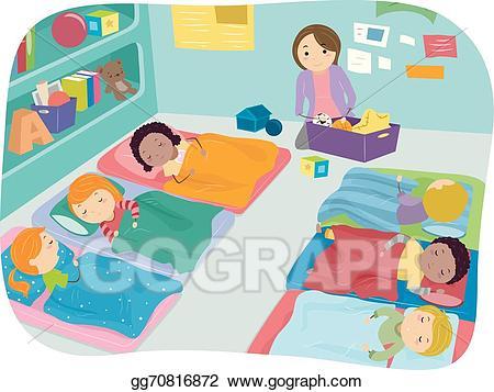 Vector nap time illustration. Storytime clipart preschool naptime