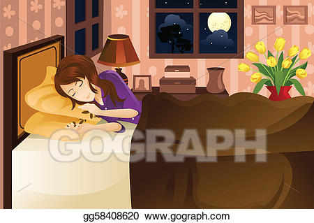 Vector stock woman on. Clipart sleeping pretty bed