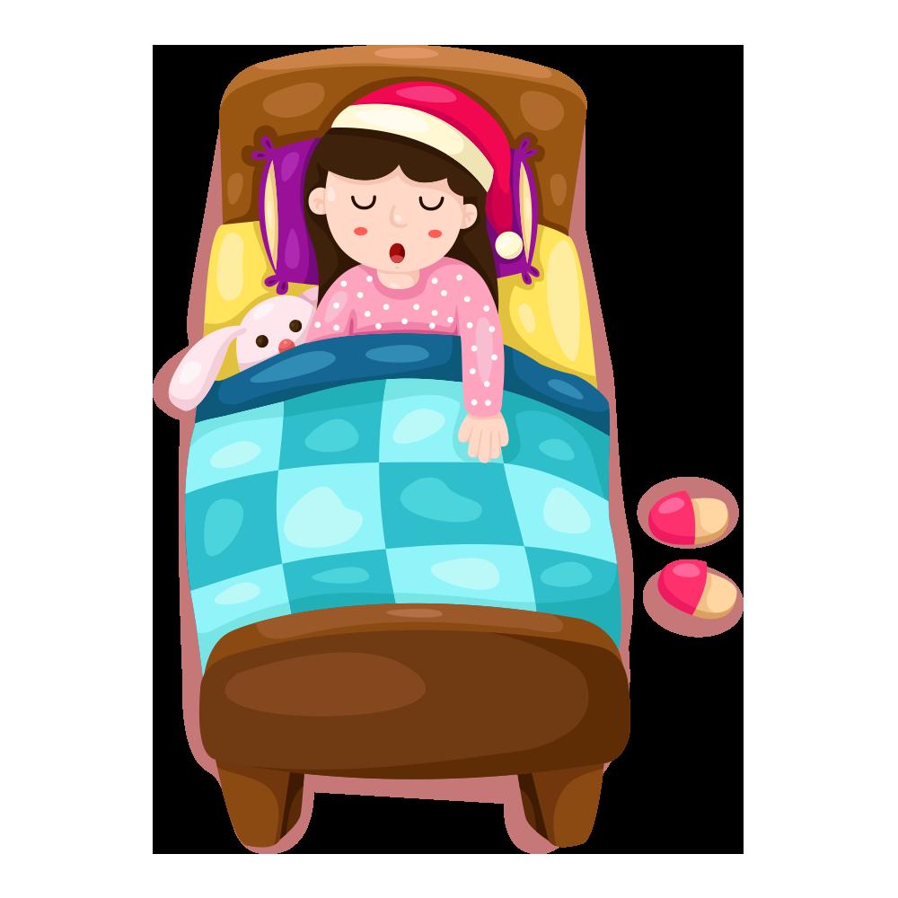 Furniture clipart toddler bed. Sleep illustration sleeping girl
