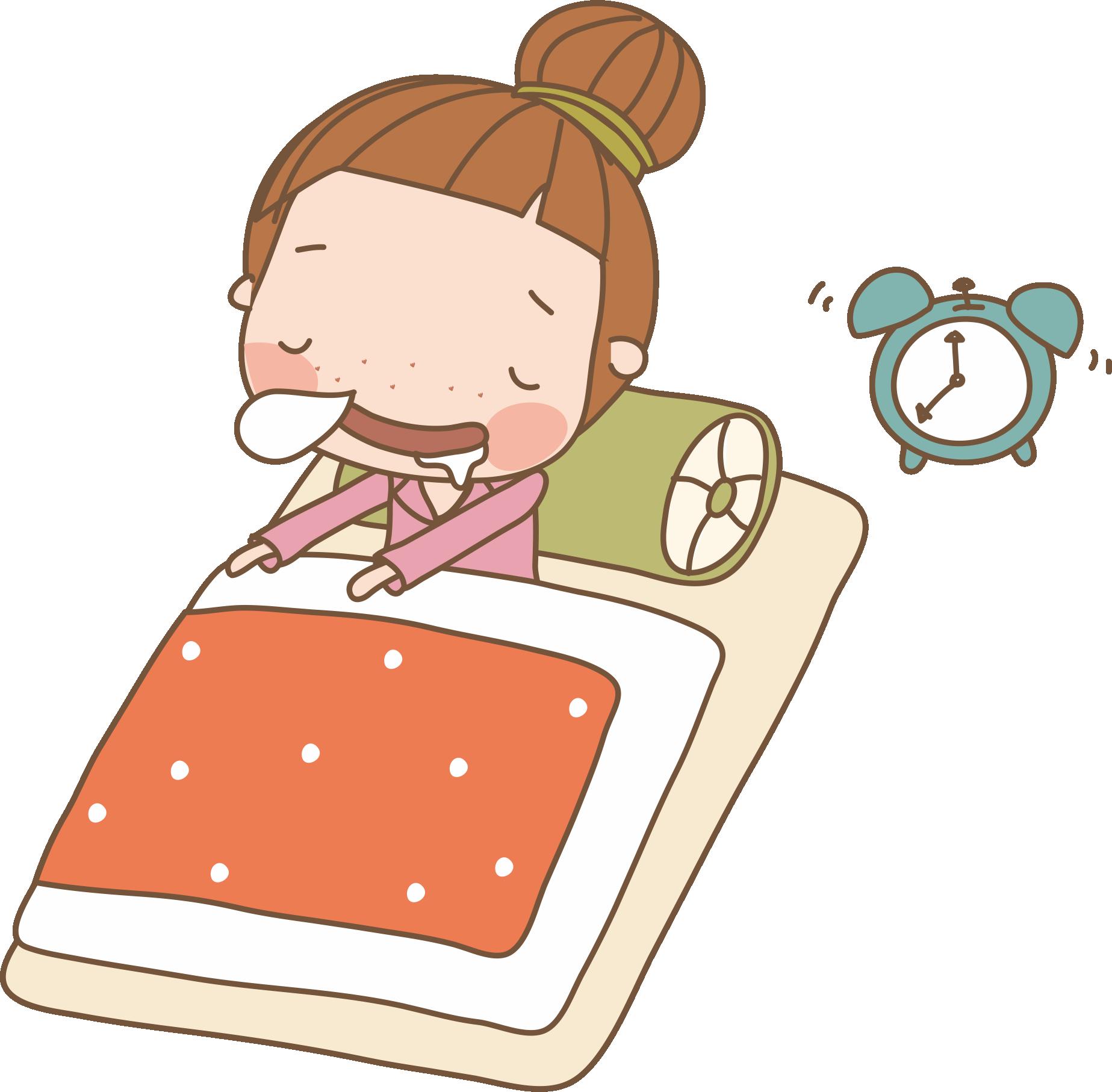 Sleep girl drawing sleeping. Dream clipart toddler bed