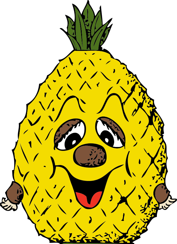 Pineapple clipart cartoon. Fruit clip art hawaiian