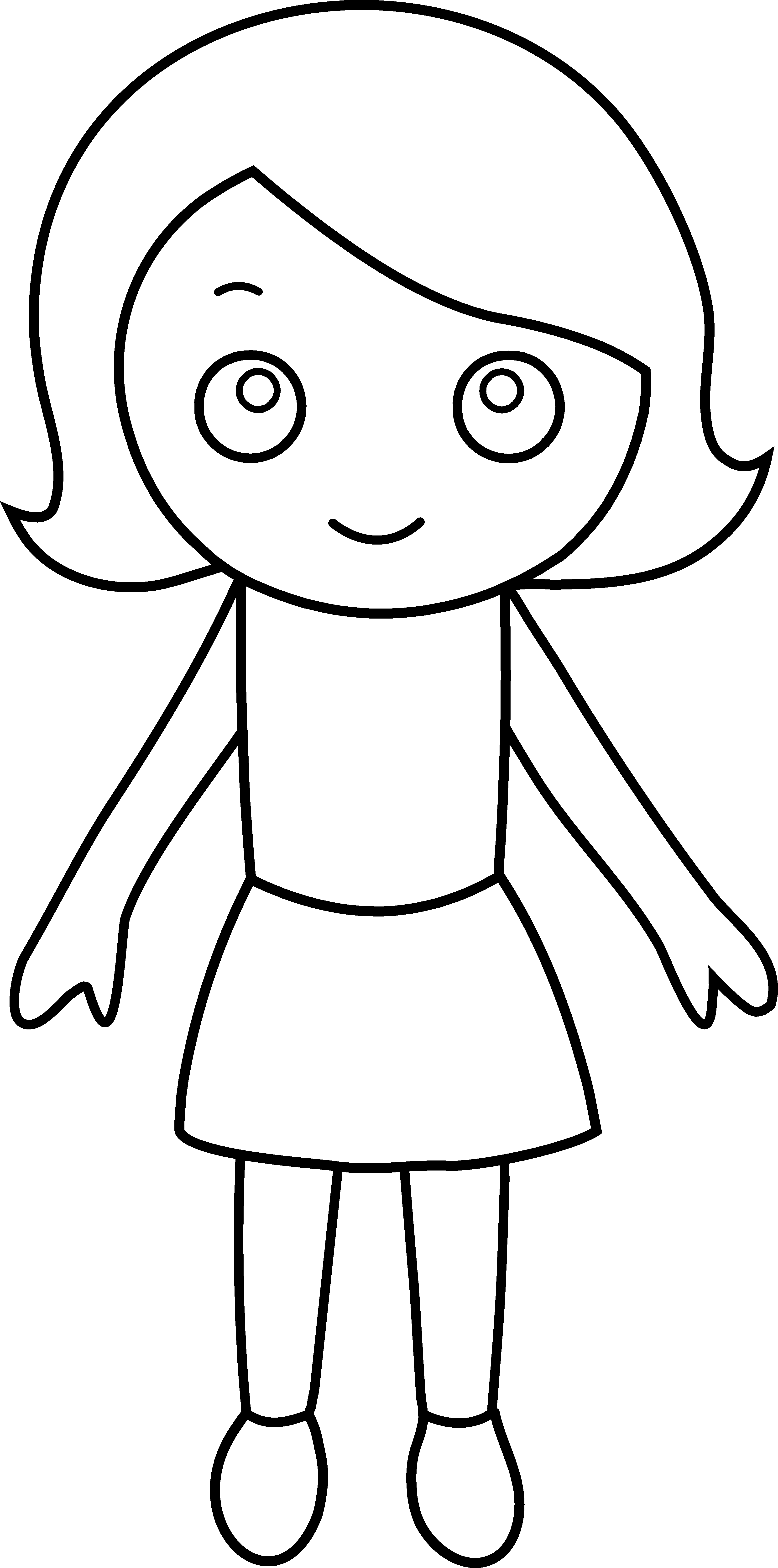 Draw clipart student. Little girl coloring page
