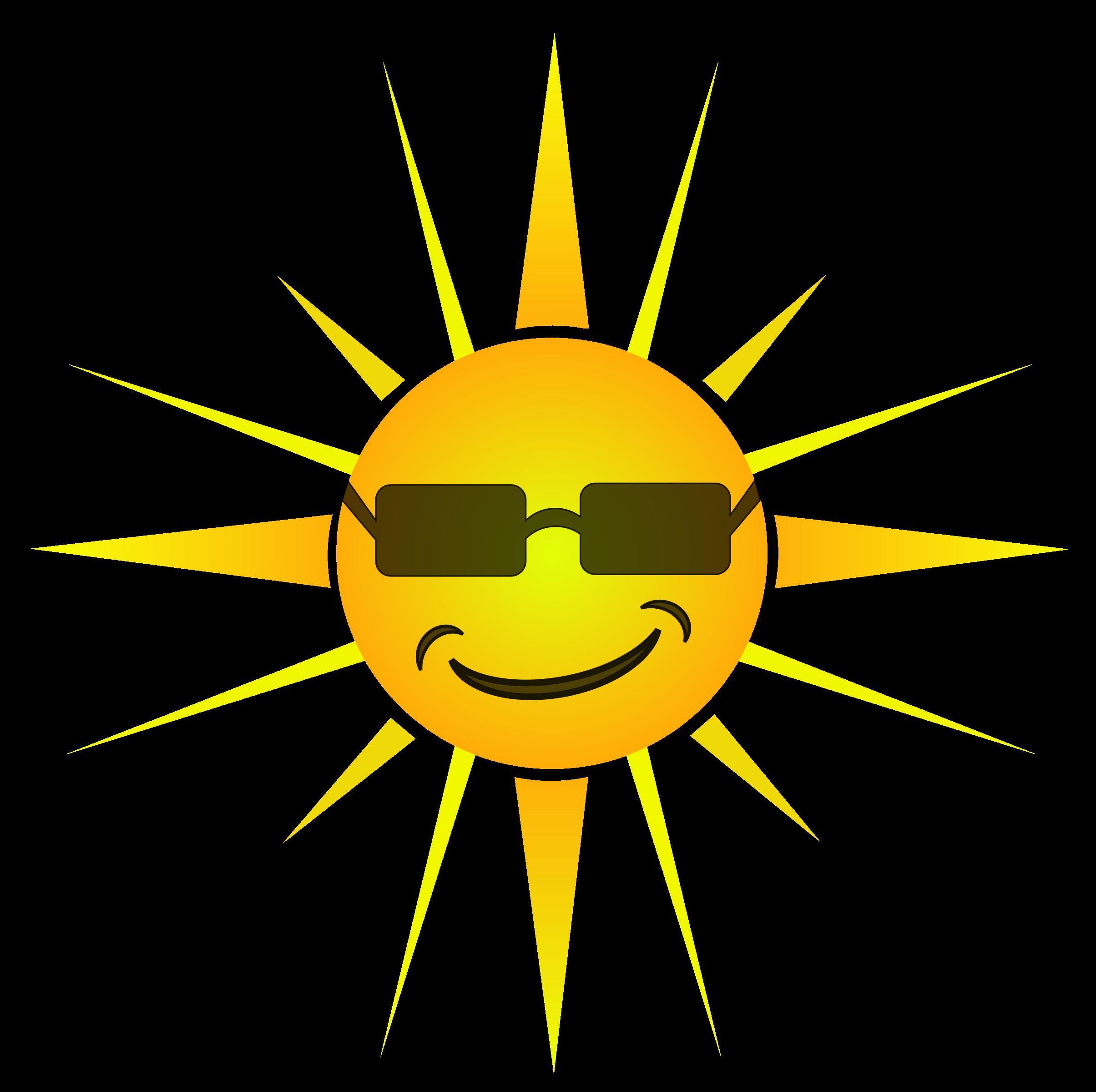 Happy sun big image. Sunny clipart cool sunglasses