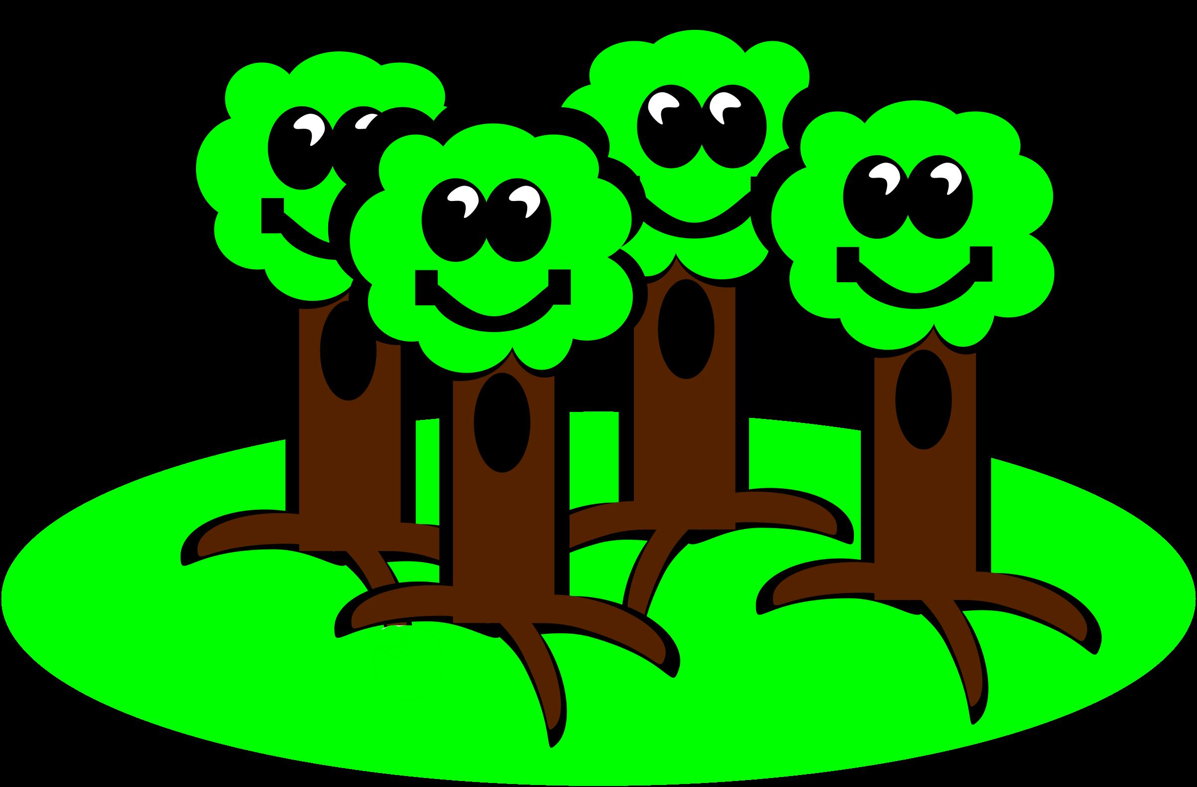 Happy trees big image. Clipart smile tree