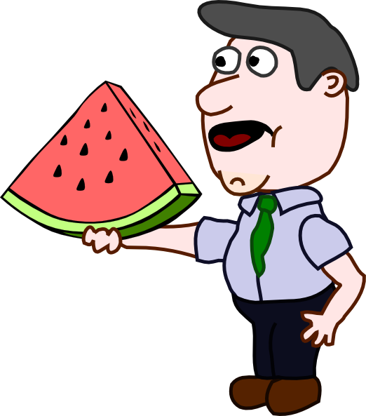 Watermelon clipart smile. Man holding a slice
