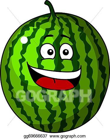 Vector art refreshing green. Watermelon clipart happy cartoon