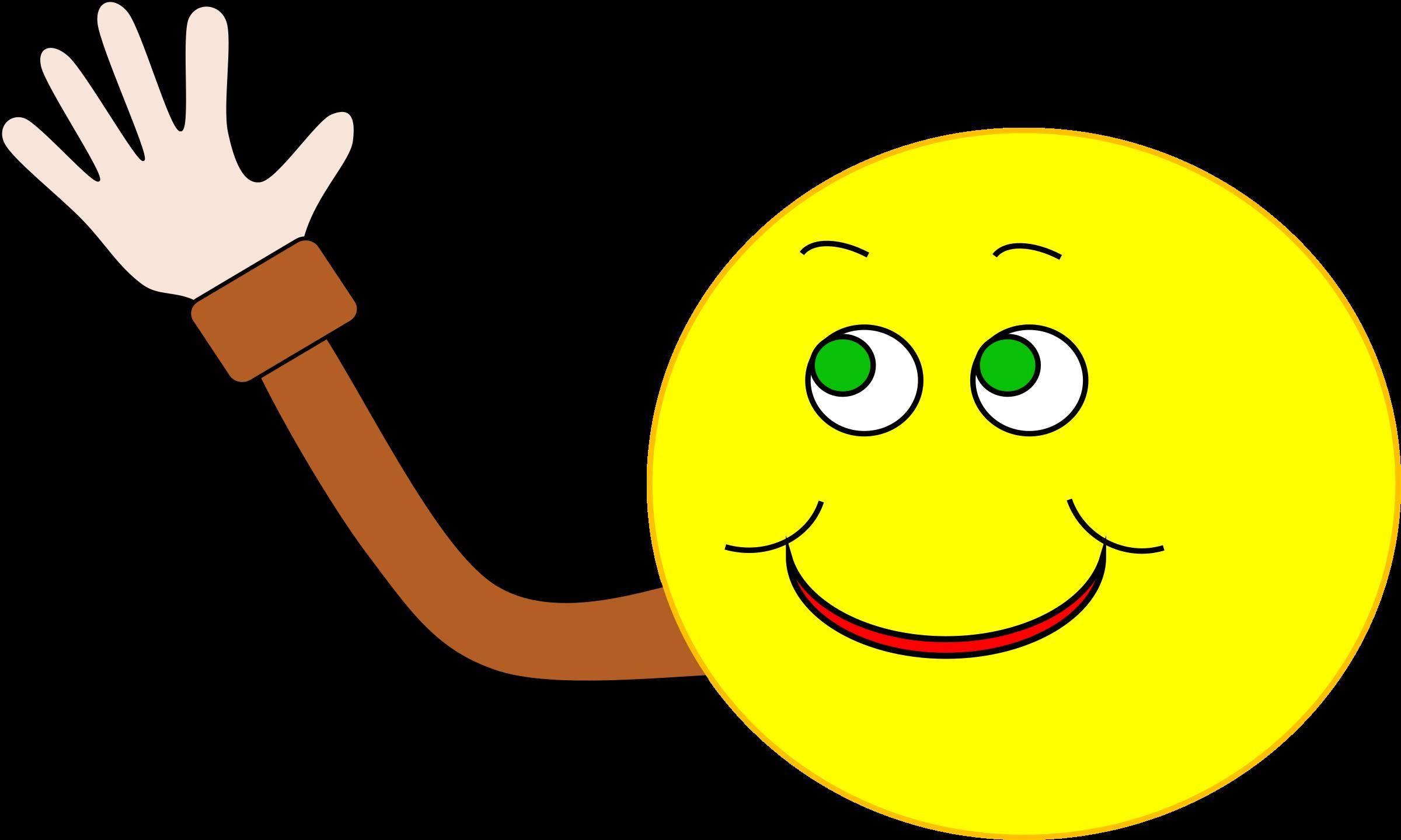 Hello clipart wave hand. Happy smiley waving big