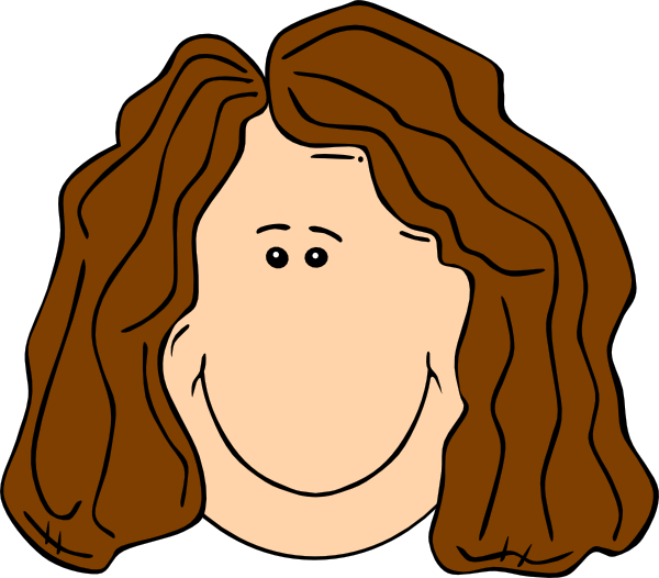Smiling Brown Hair Lady Clip Art at Clker
