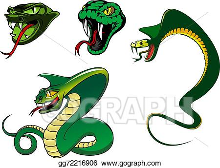 Vector art cartoon characters. Clipart snake angry snake