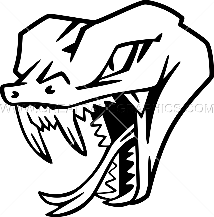 Cobra clipart black and white. Snake head production ready