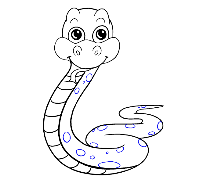 How to draw a. Clipart snake easy