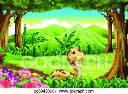 Vector illustration a at. Snake clipart forest