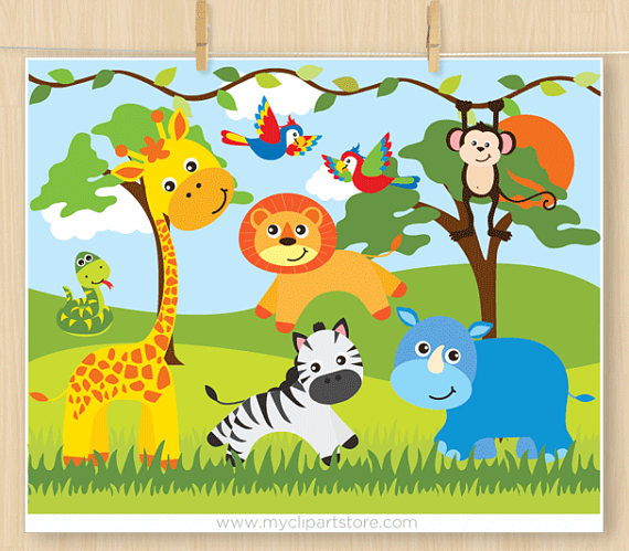 Safari animals giraffe parrots. Snake clipart jungle animal