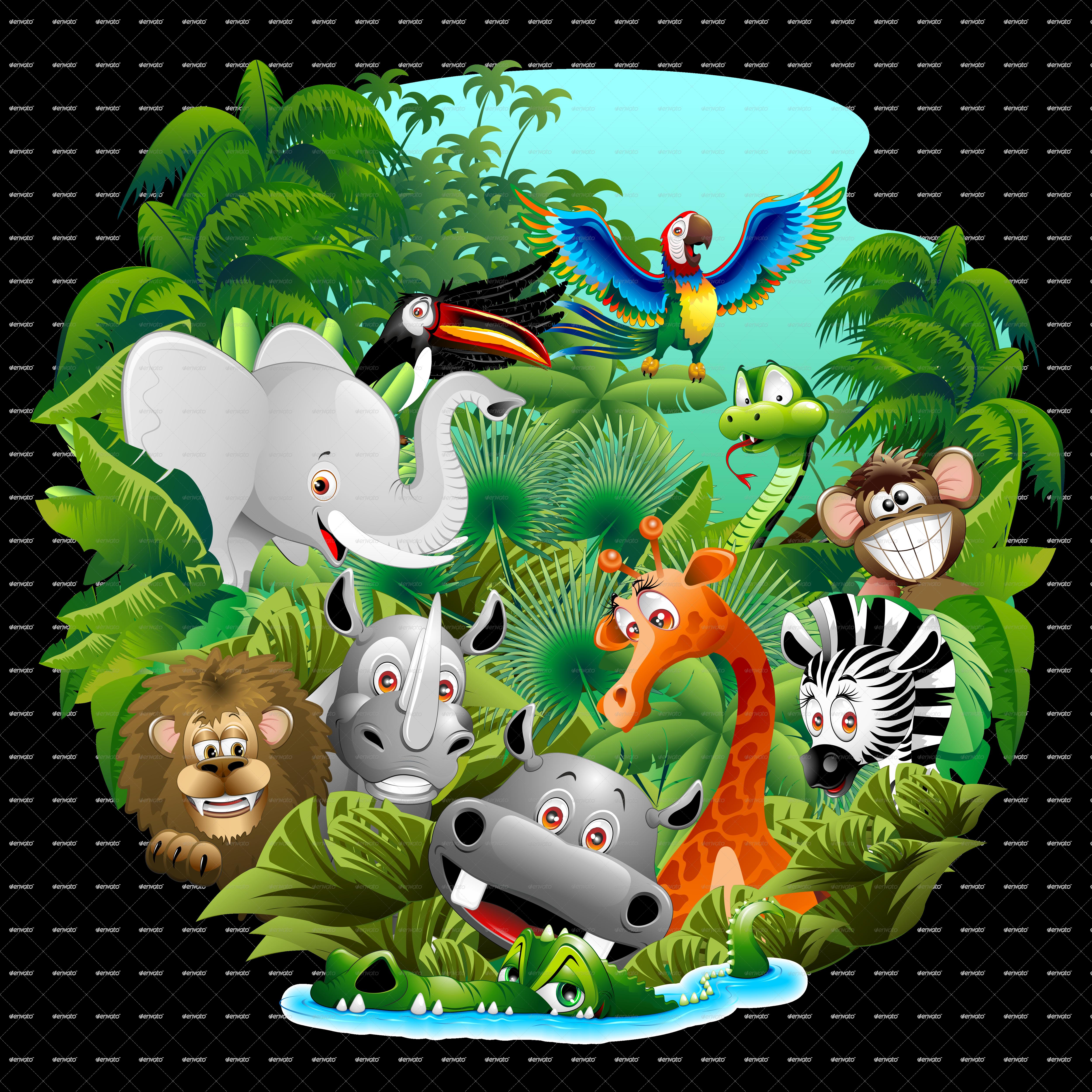 Wild animals cartoon on. Rainforest clipart rainforest creature