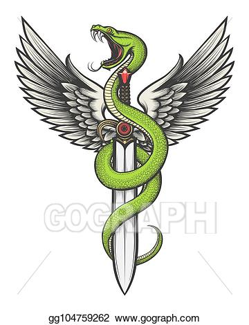 Snake clipart sword. Vector art with wings