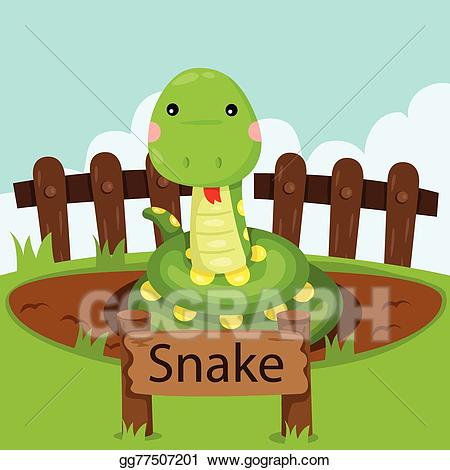 Snake clipart zoo. Vector illustration illustrator of