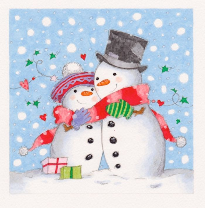Annabel spenceley sharing snow. Snowman clipart couple